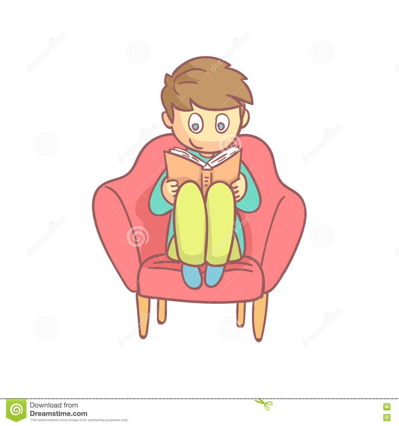 Cute Reading Chairs Boy Reading A Book In The Armchair Stock Vector Image