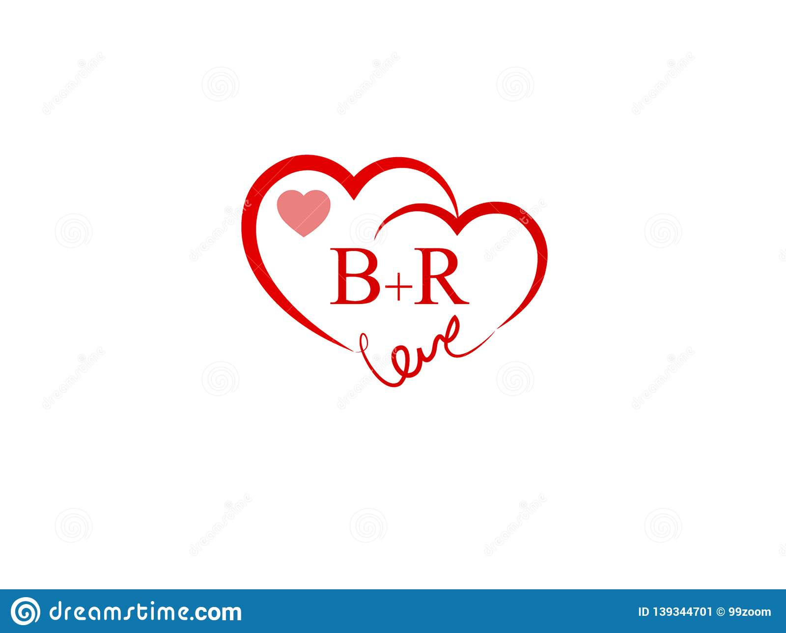 / Br Br Initial Heart Shape Red Colored Logo Stock Vector