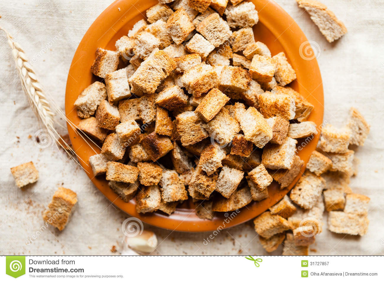 Plate With Food Top View Bread Croutons On A Plate Top View Royalty Free Stock