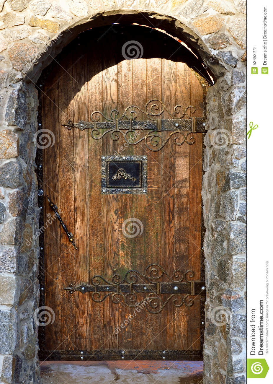 Front Door Design Traditional Brick Arch With Wooden Doors Stock Photo - Image: 53653272