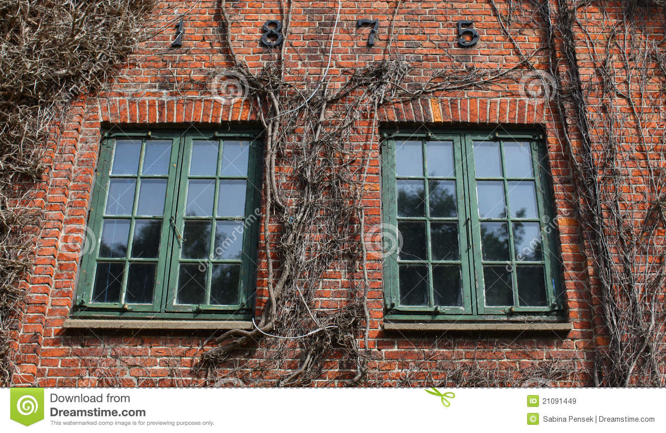 3d Brick Wallpaper For Walls Brick House Detail With Windows Royalty Free Stock Images