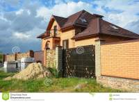 Brick And Metal Fence With Metal Gate Of Modern Style ...