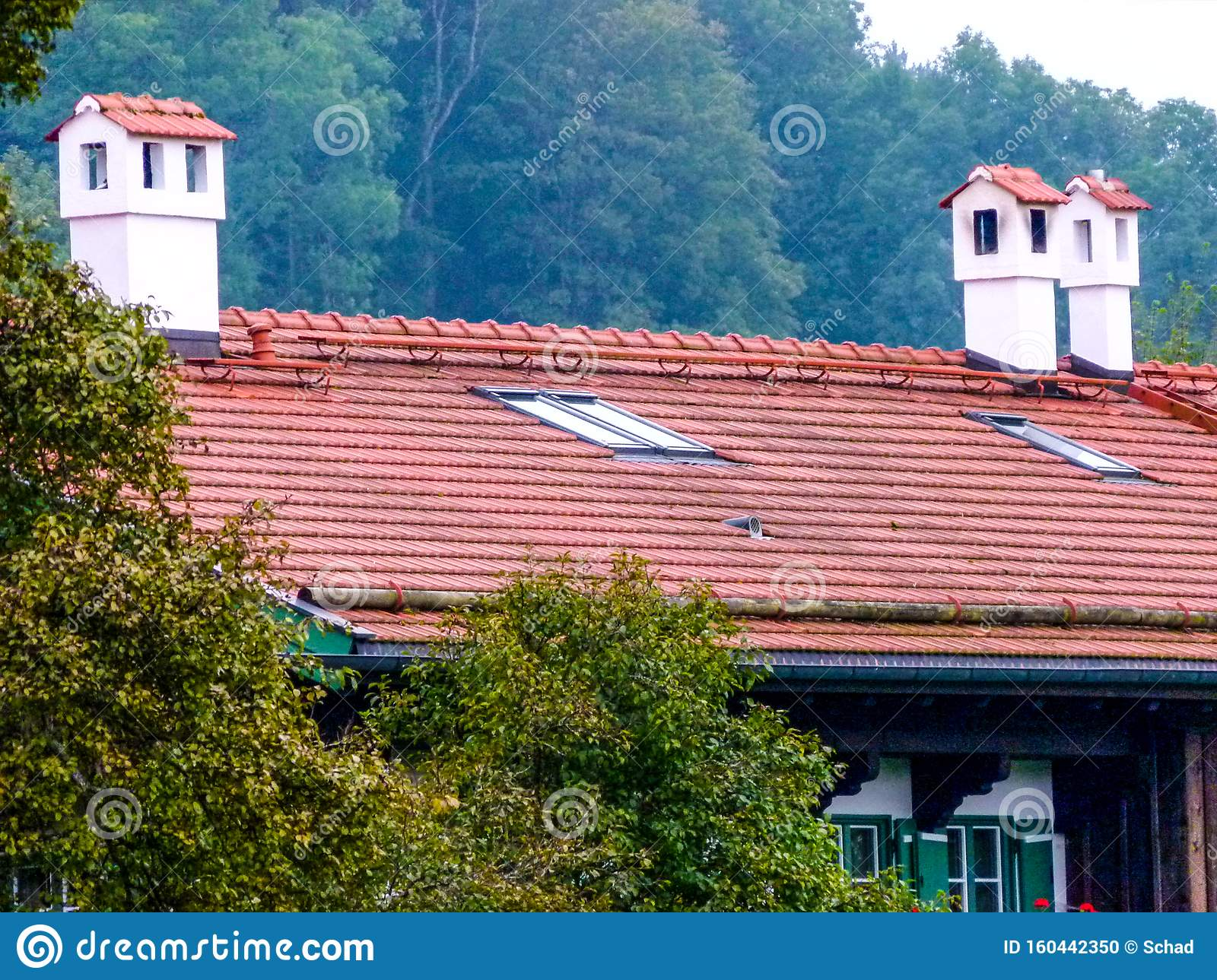 Brick Roof With Brick Chimneys With Roof Tile Cover 1 Stock Photo Image Of Beautiful Farmhouse 160442350