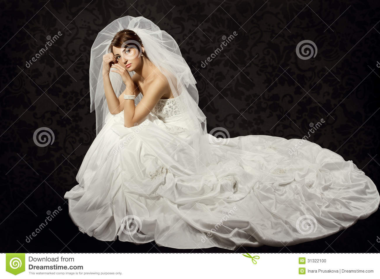 Girl In Gown Wallpaper Bride In Wedding Dress Over Dark Background Stock Photo