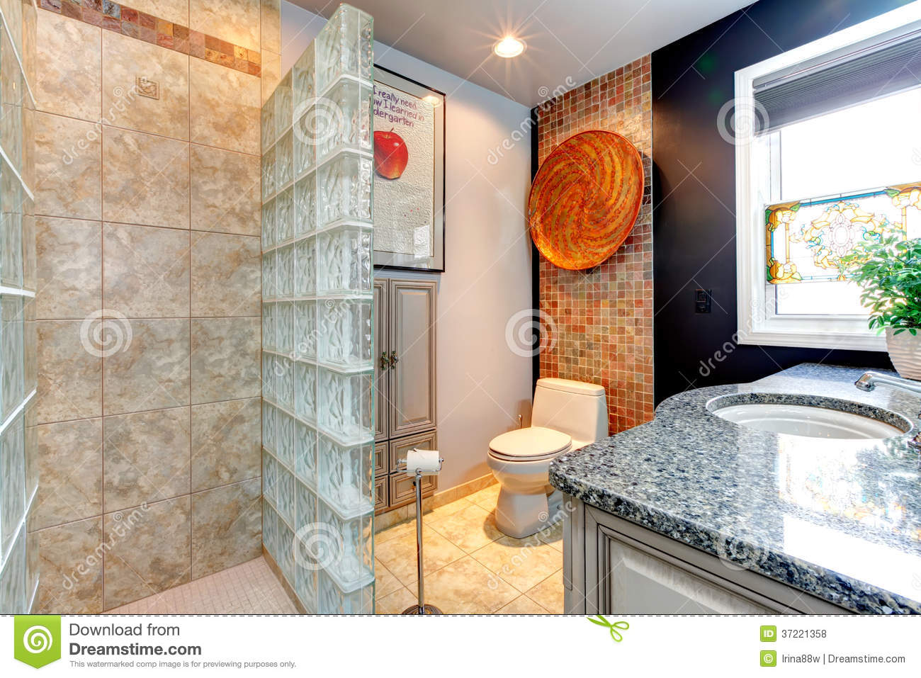 Open Glass Wall Bright Bathroom With Open Shower Royalty Free Stock Photos