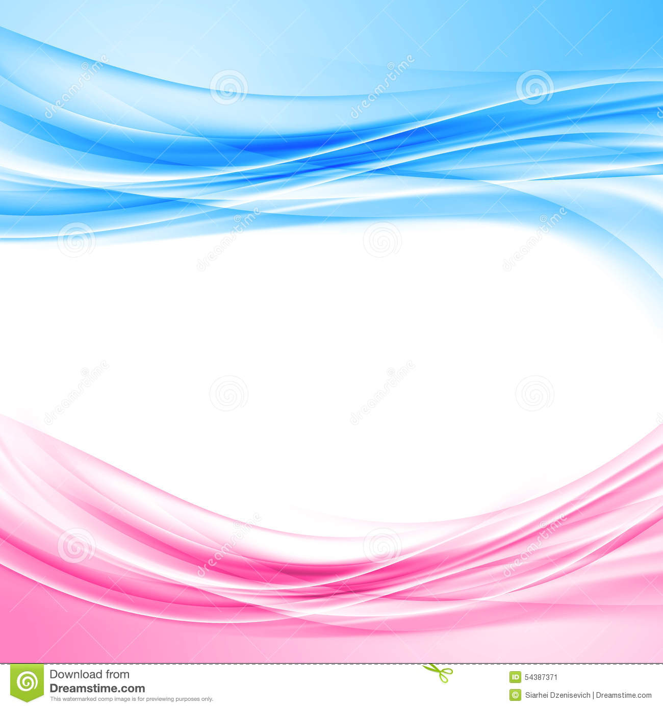 White Wave 3d Wallpaper Bright Blue And Pink Border Abstract Background Stock