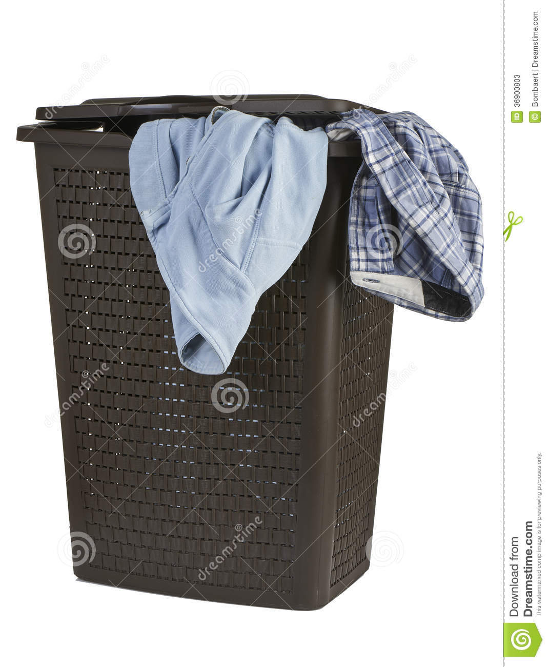 Closed Laundry Basket Bright Clothes In A Laundry Closed Basket Stock Photos