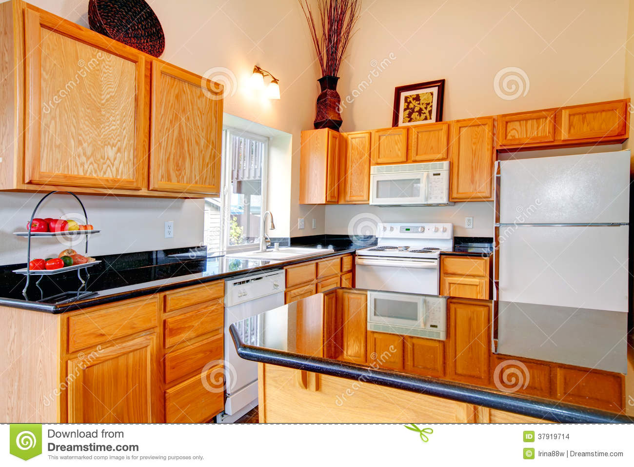 Brown Kitchen Cabinets With White Appliances Bright Cozy Kitchen Room Stock Images Image 37919714