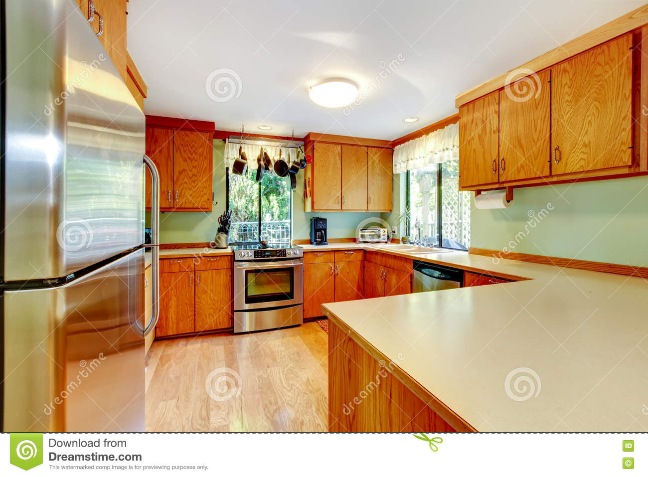 Bright Kitchen Cabinets Bright Kitchen With Light Brown Cabinets And Wooden