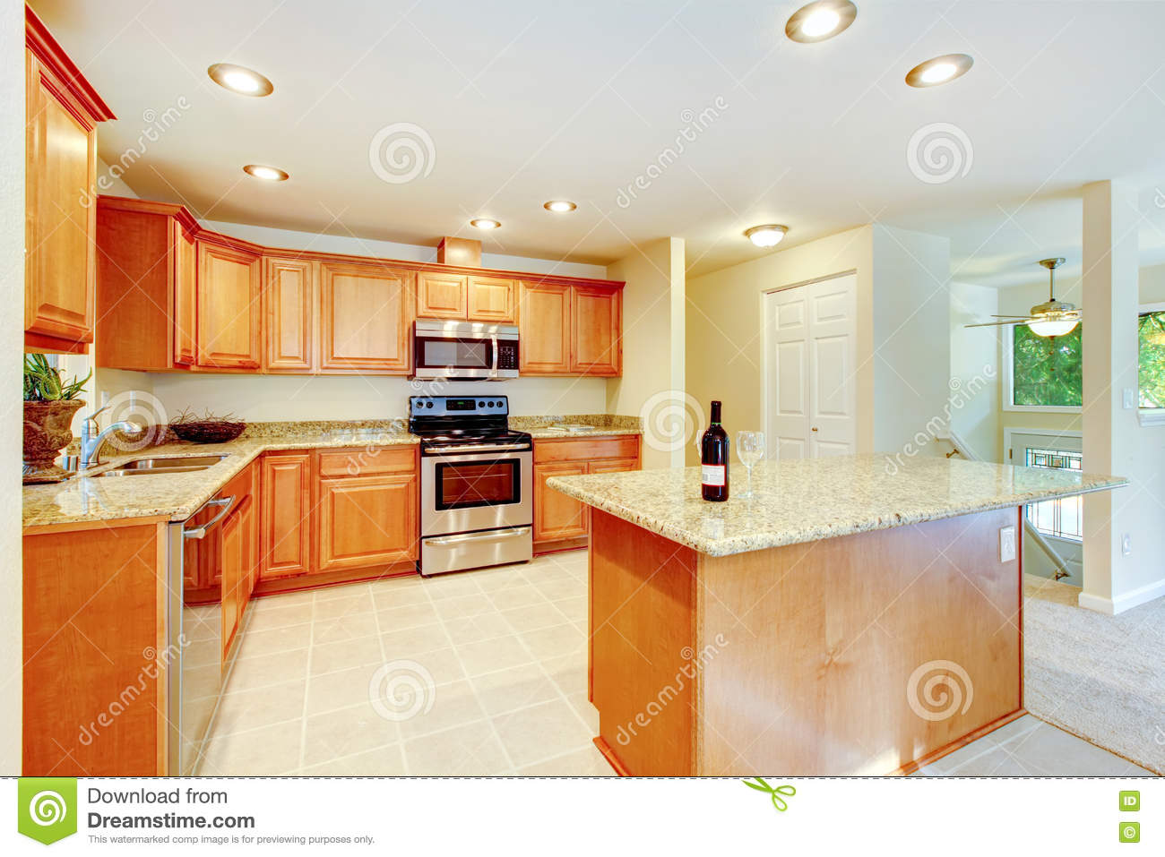 Bright Kitchen Cabinets Bright Kitchen Room With Light Brown Cabinets And Steel