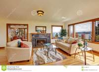Bright Living Room In Light Ivory Tones Stock Image ...
