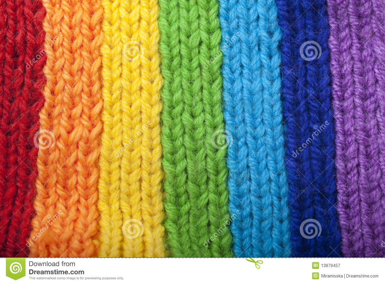 Rainbow Knitting Design Bright Rainbow Knitted Scarf Royalty Free Stock