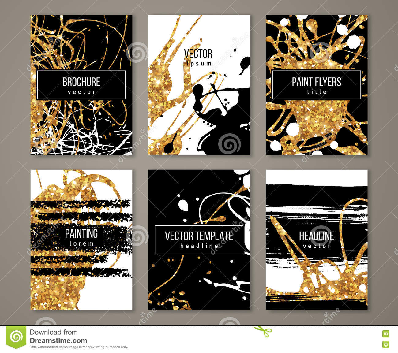 Black Glitter Wallpaper Brochure With Pastel Strokes And Gold Paint Stock Vector