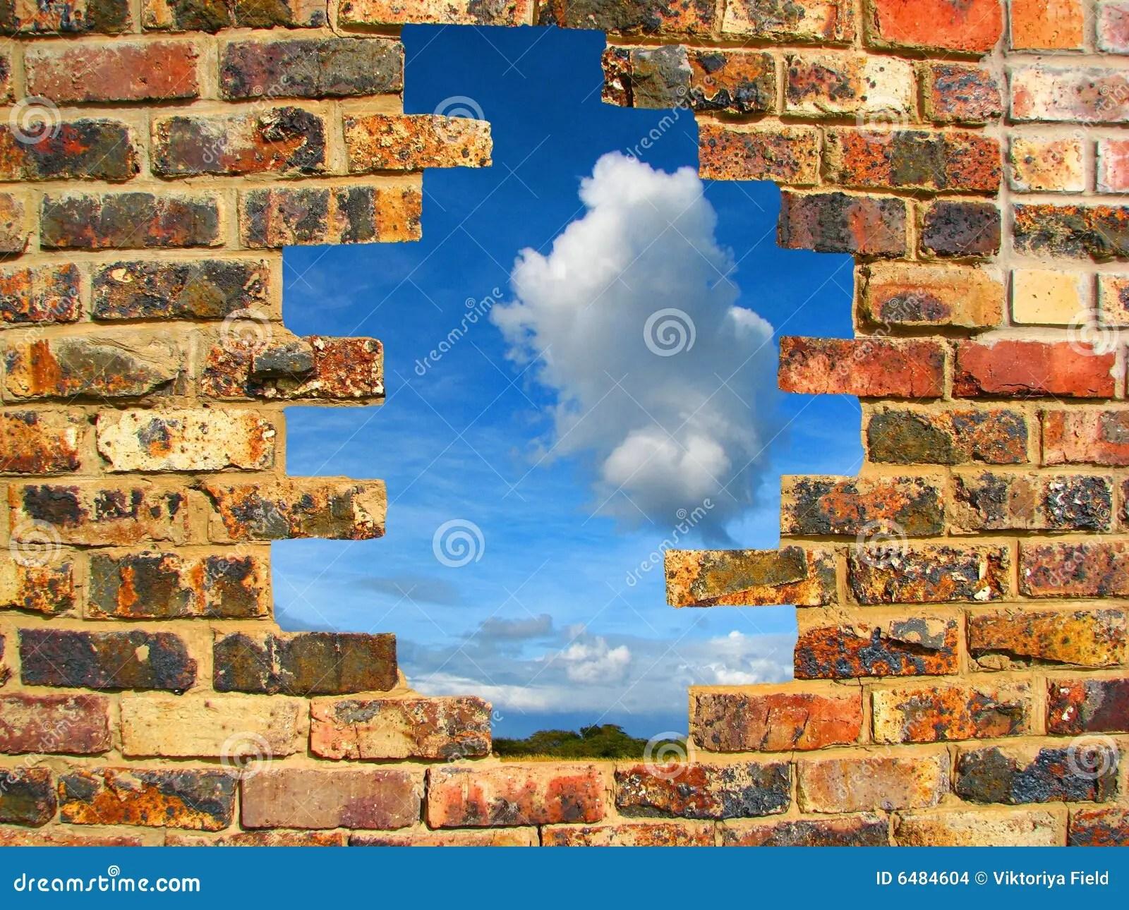 7 Horse Wallpaper 3d Broken Brick Wall Stock Photo Image Of Breaking Break