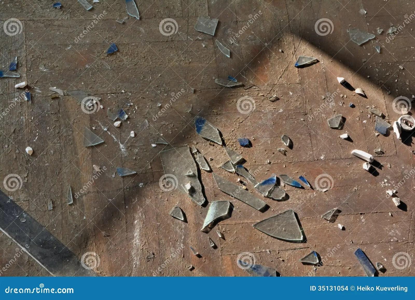 Broken Glass On A Floor Stock Photo Image Of Destruction