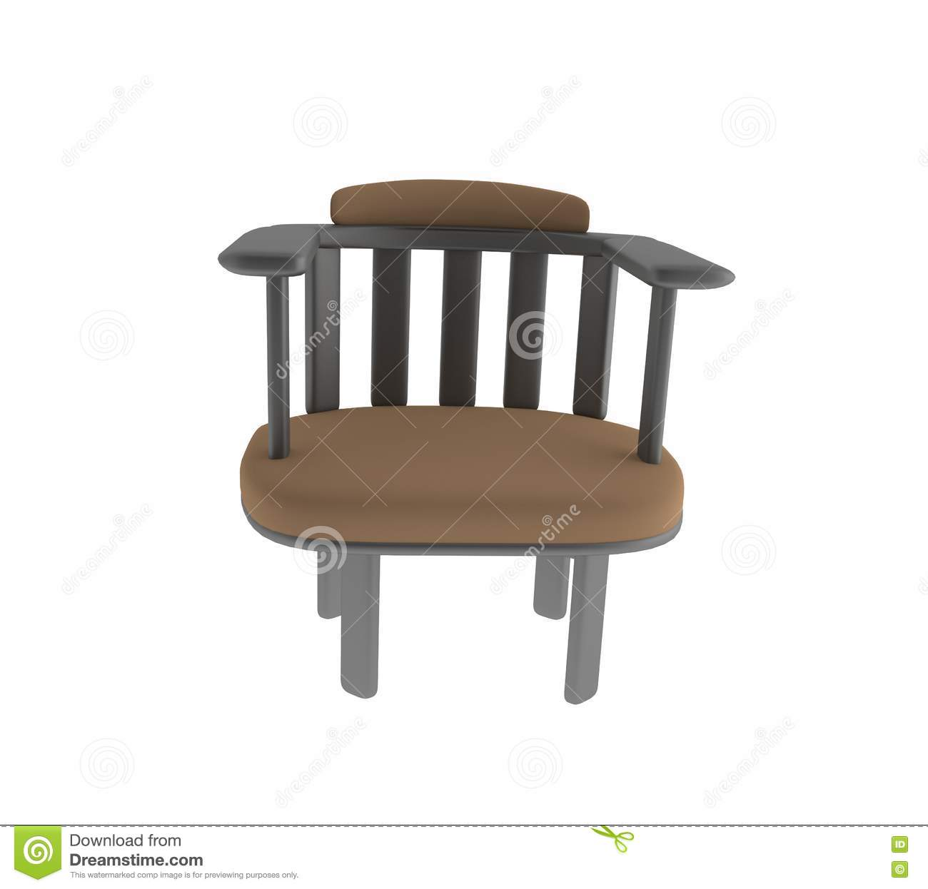 Working Chair Brown Chair Furniture On Isolated In 3d Render Image Stock