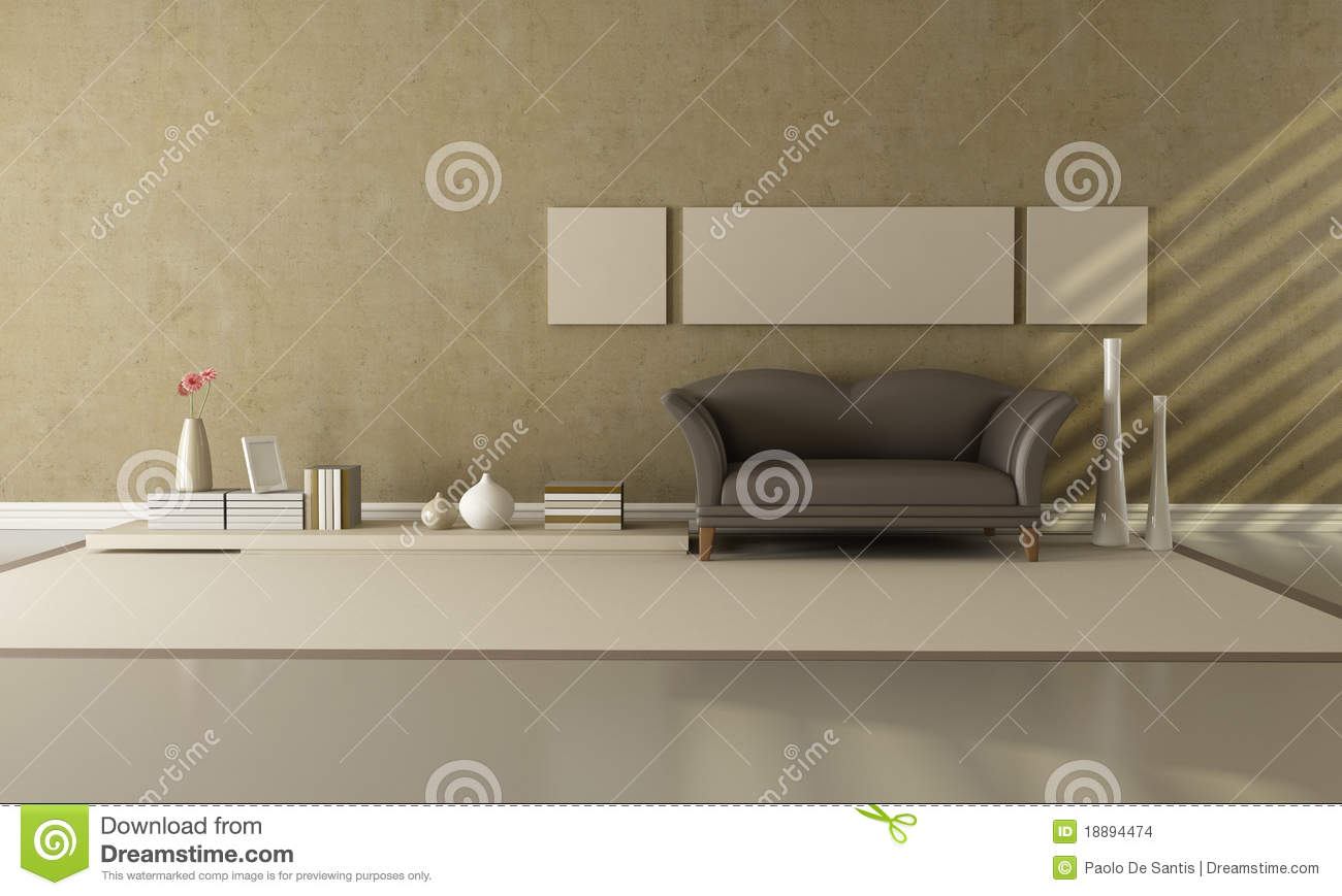 Le Salon Beig Brown Et Salon Beige Illustration Stock Illustration Du