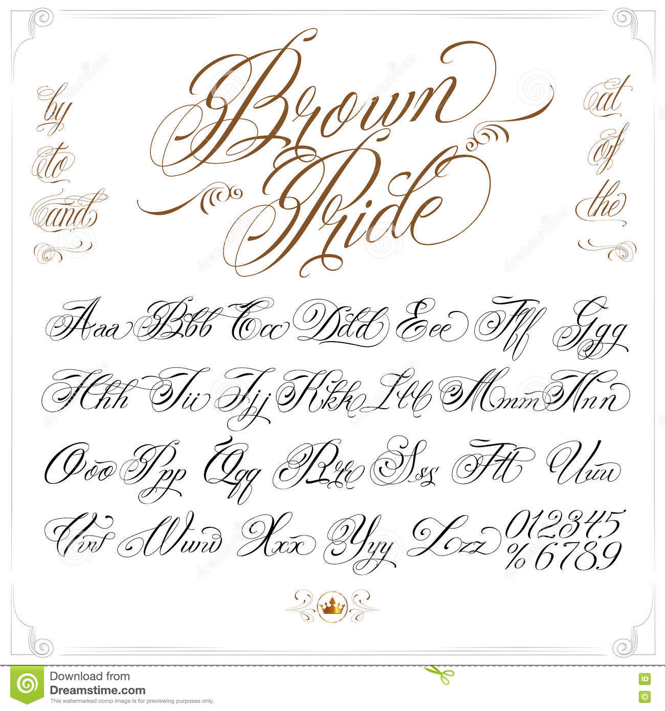 Calligrafia Lettere Tattoo Brown Pride Tattoo Font Set Illustrazione Vettoriale