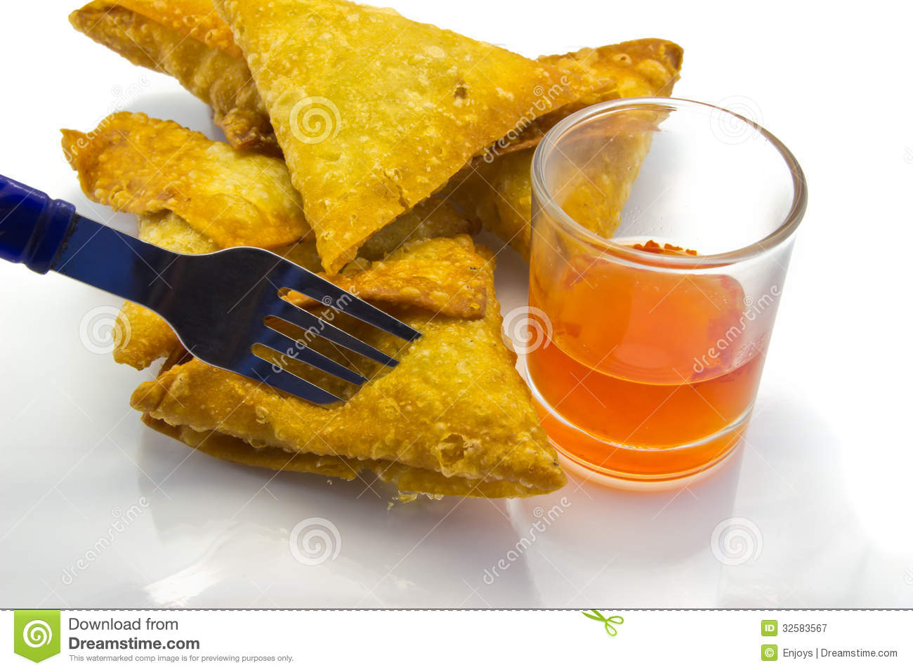 Cuisine Triangle Brown Samoosa And Chili Sauce Royalty Free Stock