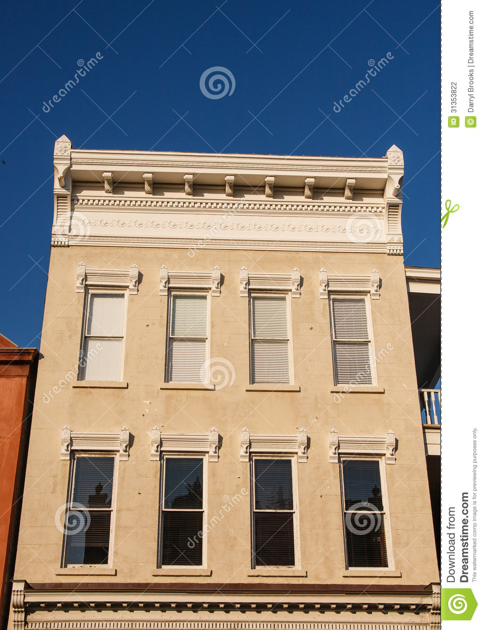 Plaster Building Brown Stone Building With Window Trim Stock Photo Image Of