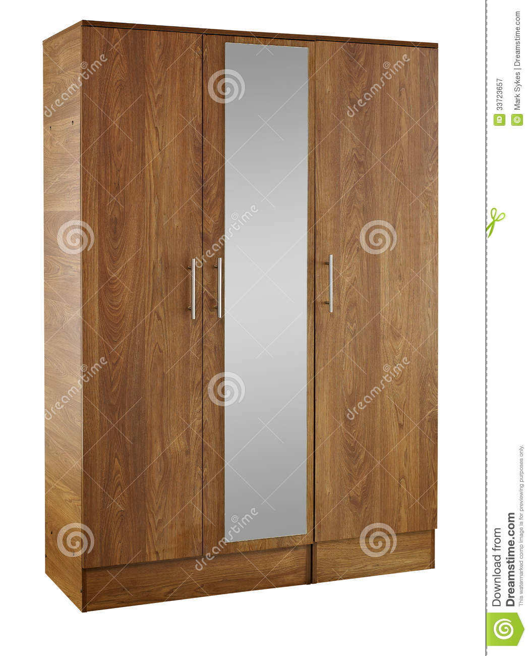 Brown wood wardrobe isolated on white background royalty free stock