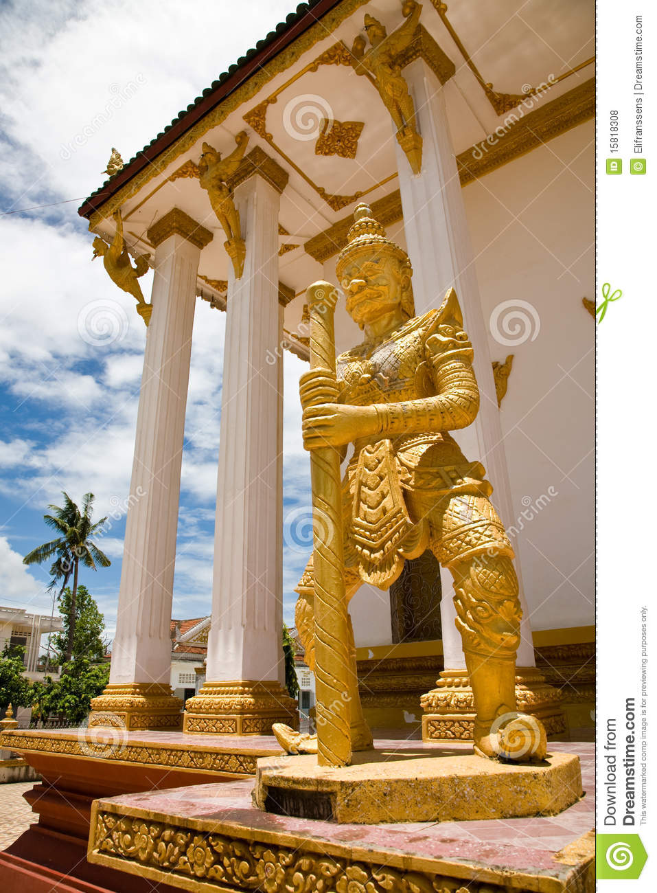 Art E Decoration Buddhist Temple, Battambang, Cambodia Stock Photo - Image