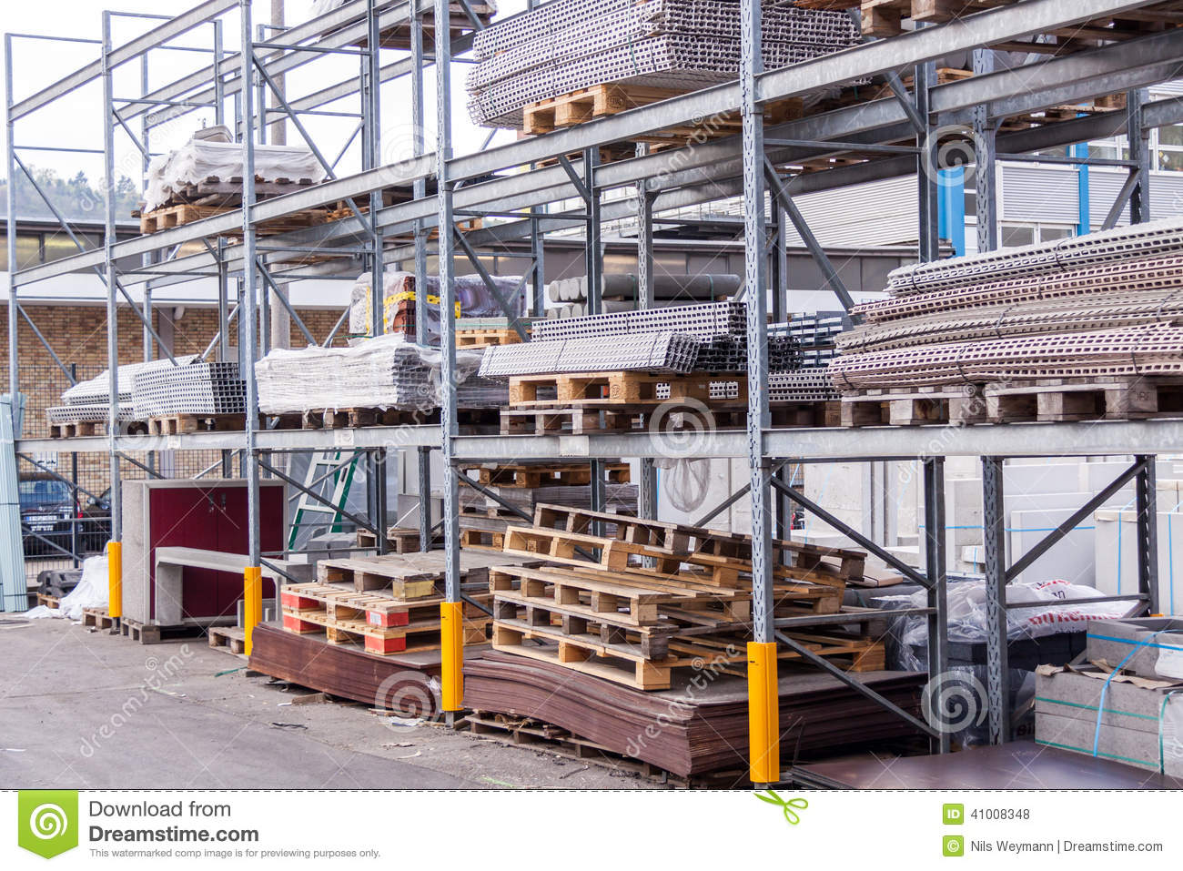 Warehouse Website Building And Construction Materials In A Warehouse Stock