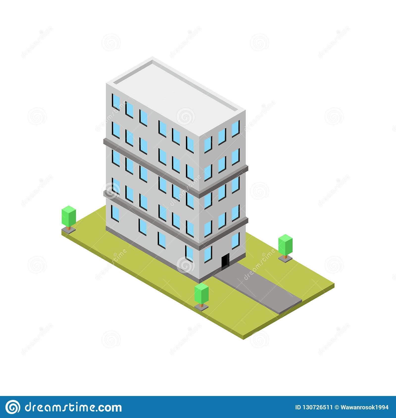 Bangunan 3d Building Isometric Illustration Vector Illustration Stock Vector