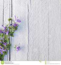 Bunch Of Purple Flowers On White Painted Wood Royalty Free ...