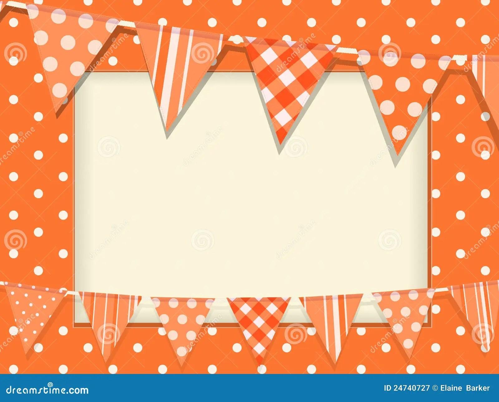 Free Fall Photos Wallpaper Bunting And Orange Polka Dot Frame Stock Vector