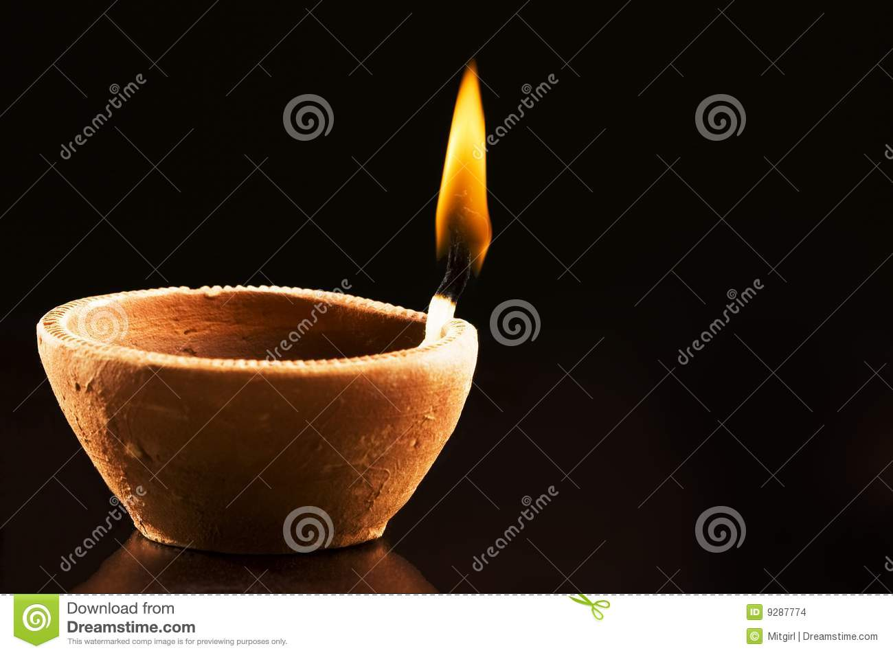 Earthen Lamp Diwali Burning Flame In Earthen Lamp Stock Images Image 9287774