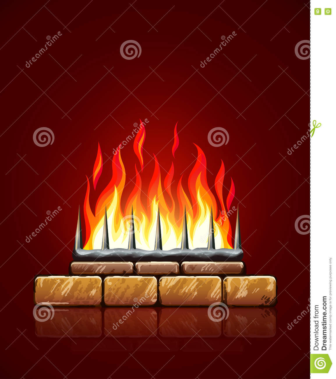 Fire Stones For Fireplace Burning Flames Of Fire In Brick Stones Fireplace Vector Stock