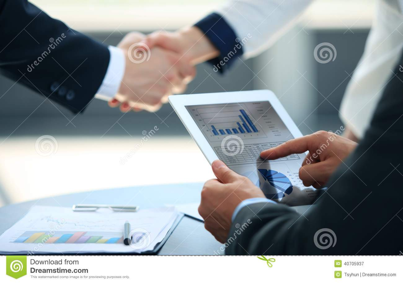 Schuhbank Ella Business Associates Shaking Hands Stock Image Image Of Employees