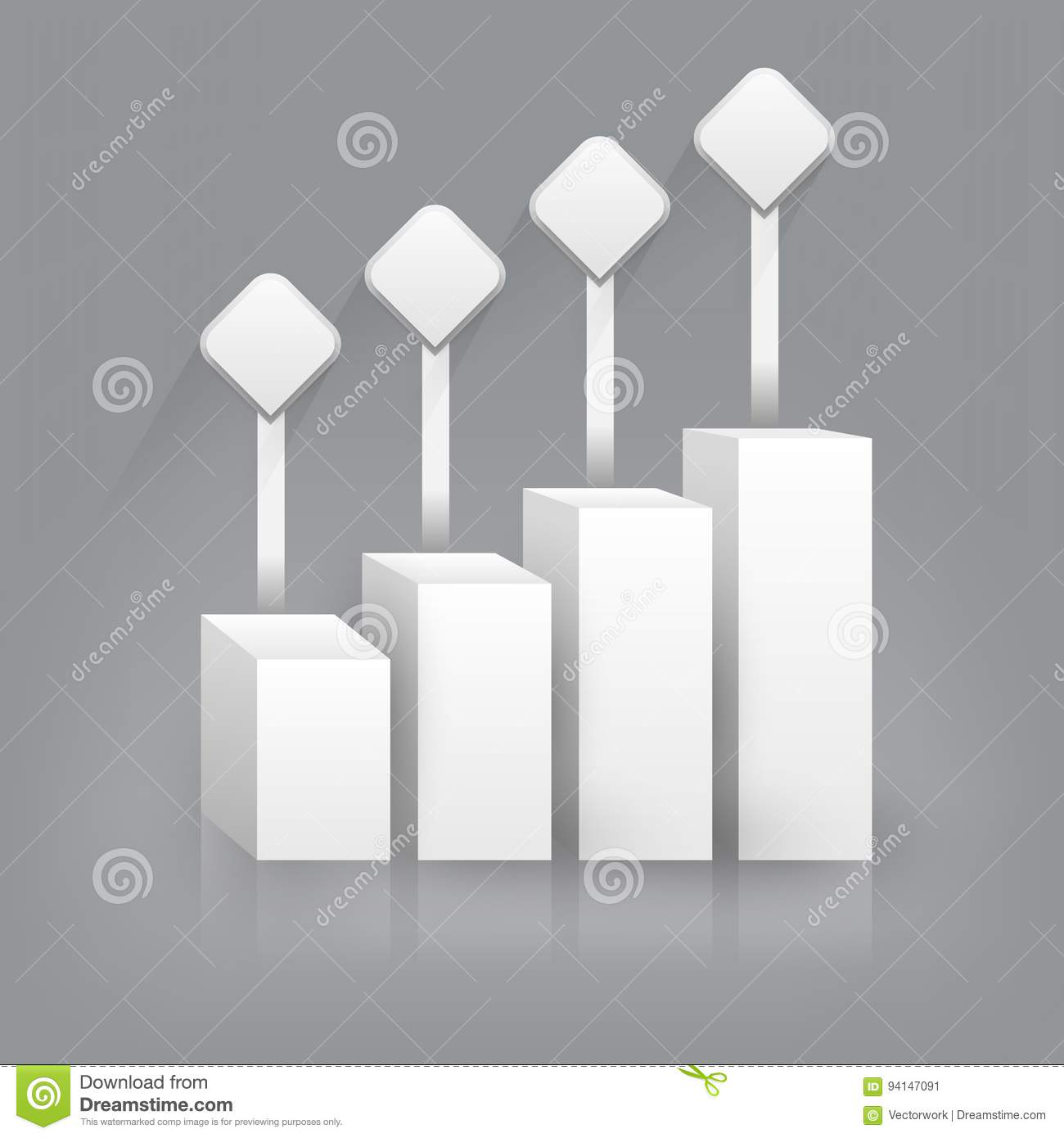 Business Bar Graph Blank Template Infographic Stock Vector