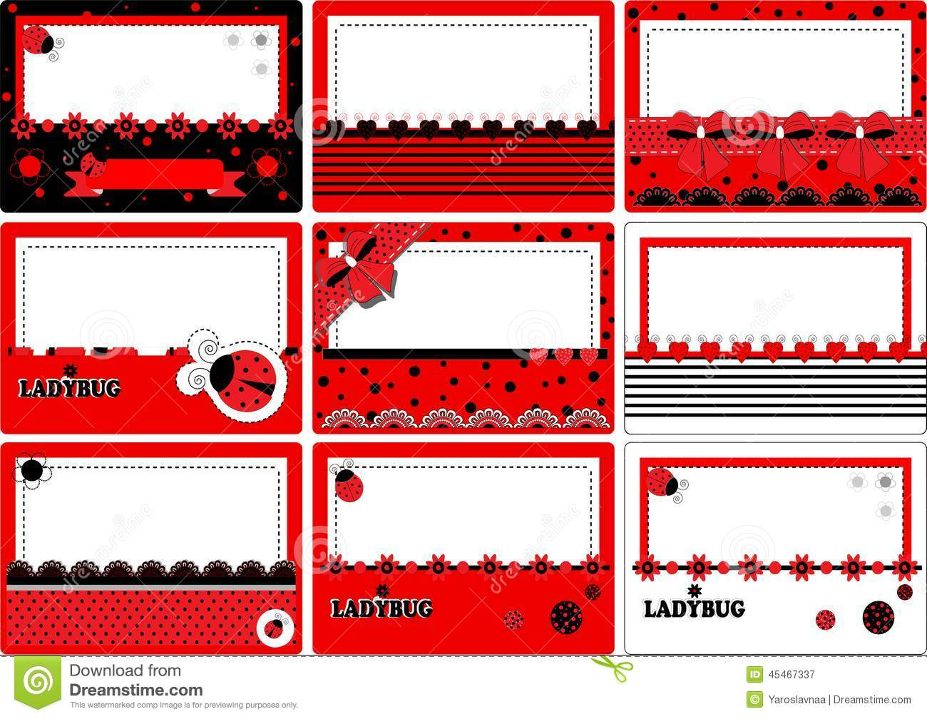 Cute Minnie Mouse Wallpaper Business Card Ladybug Stock Vector Image Of Girl Swatch