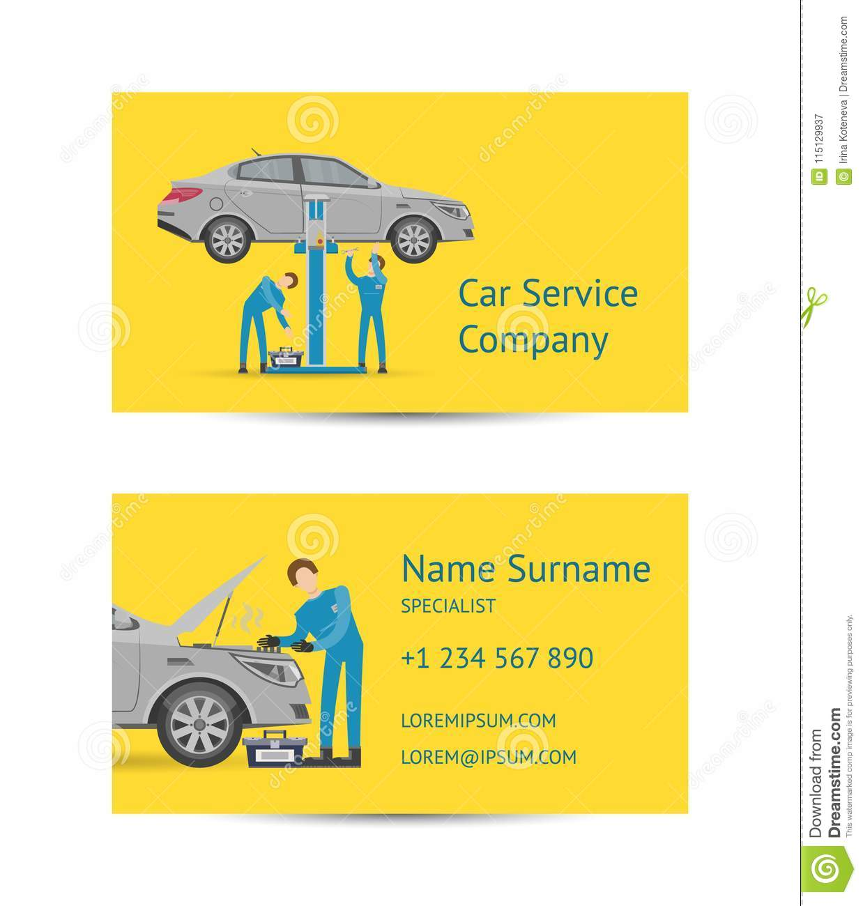 Garage Design Template Business Card Template For Auto Service Stock Vector