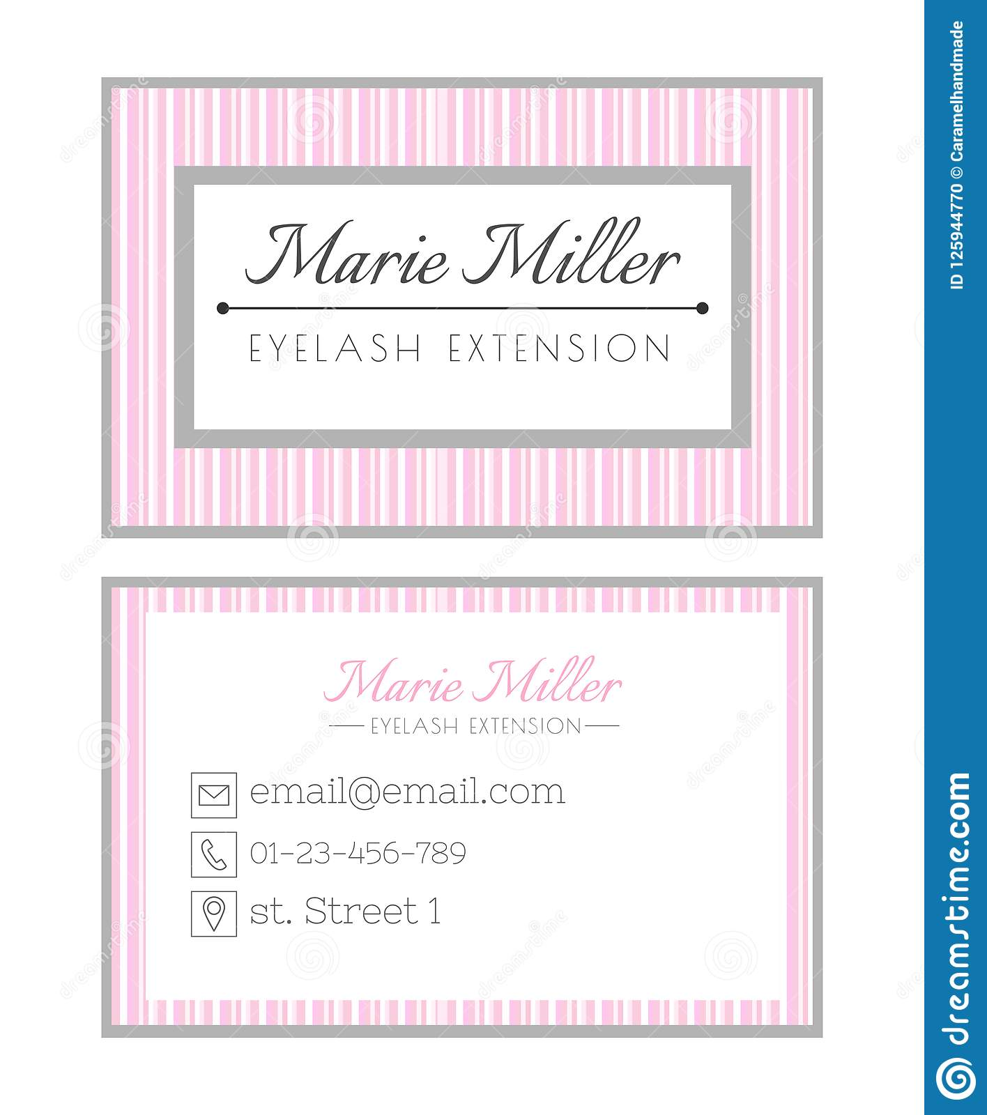 Business Card Template Design For Beauty Salon Services On Eyelash Extension Pink Striped Layout Stock Illustration Illustration Of Abstract Design 125944770