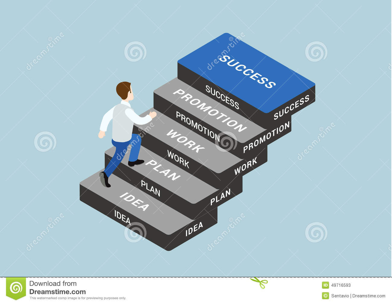 Business Step Business Concept Step Succeed Flat 3d Web Isometric Infographic