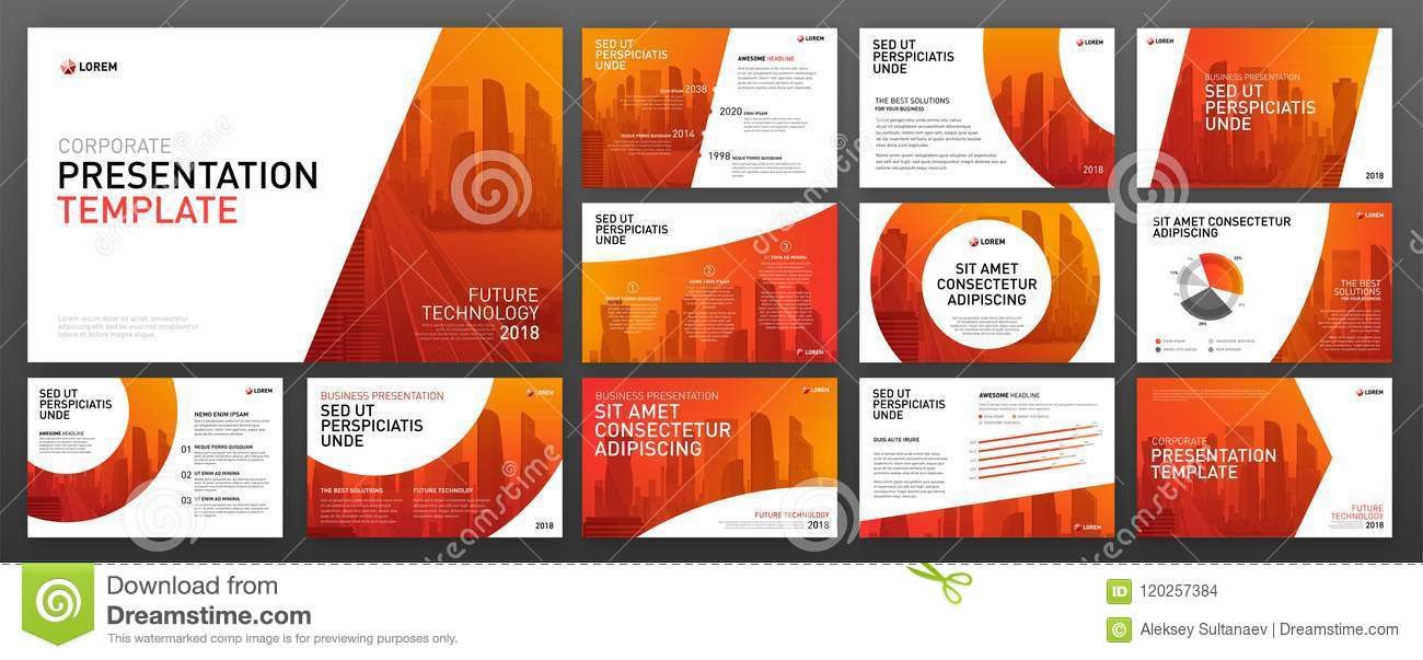 Business Presentation Templates Set Stock Vector - Illustration of