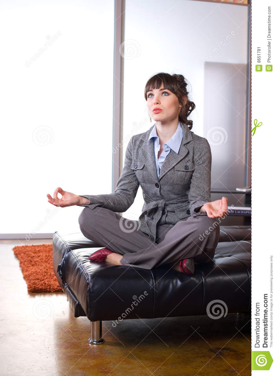 Stock Image Dreamstime Business Woman Doing Yoga In A Modern Office Stock Image