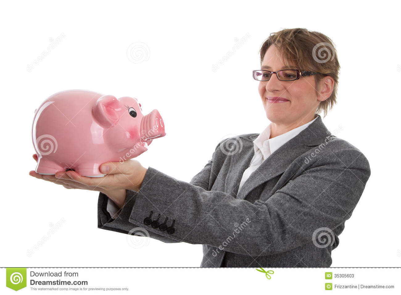 Piggy Bank Adult Business Woman With Piggy Bank Woman Isolated On White