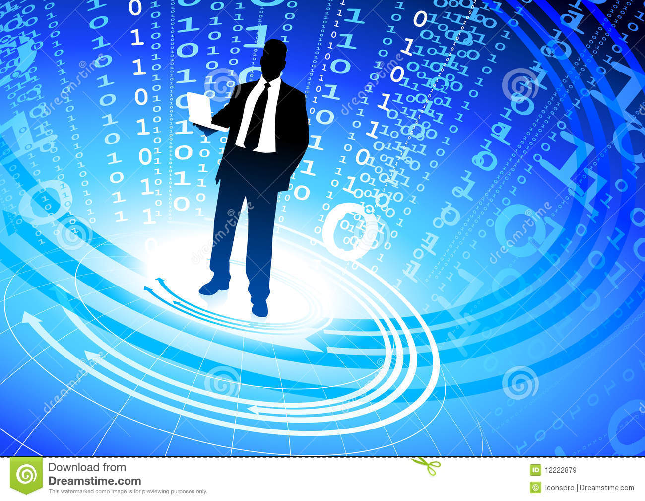 Matrix 3d Wallpaper Free Download Businessman On Abstract Binary Code Background Royalty
