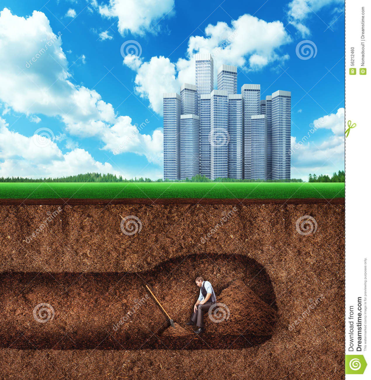 Sofa Credit Businessman Has A Rest While Digging Tunnel Stock Photo