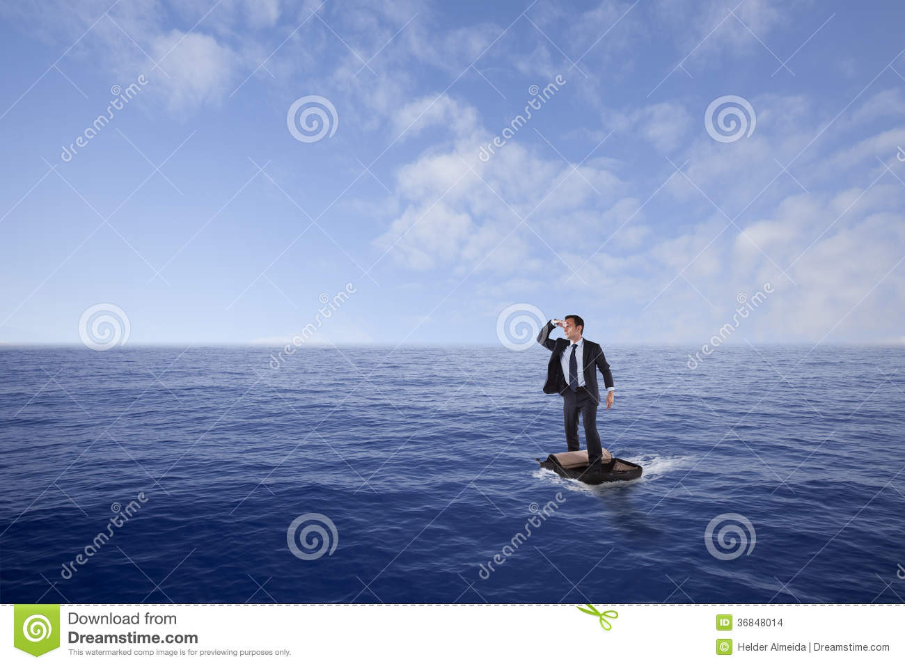 At Sea Businessman Lost At Sea Stock Photo Image Of Adventure