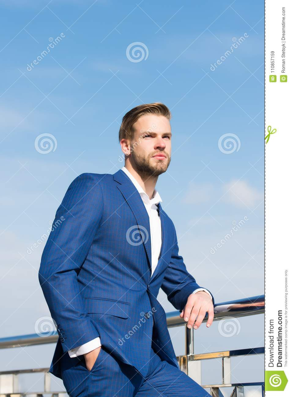 Freedom Coat Stand Businessman Stand On Blue Sky Success Ambition Freedom