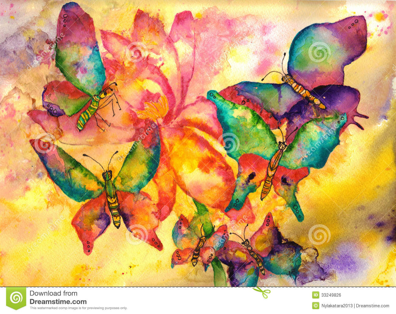 Pintura A Acuarela Butterflies Watercolor Painting Stock Illustration Image