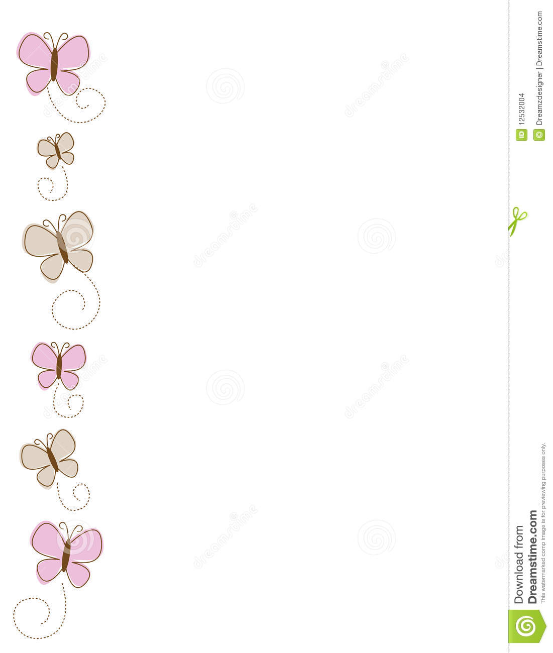 Cute Bordered Pastel Flower Wallpaper Butterfly Butterflies Side Border Stock Images Image