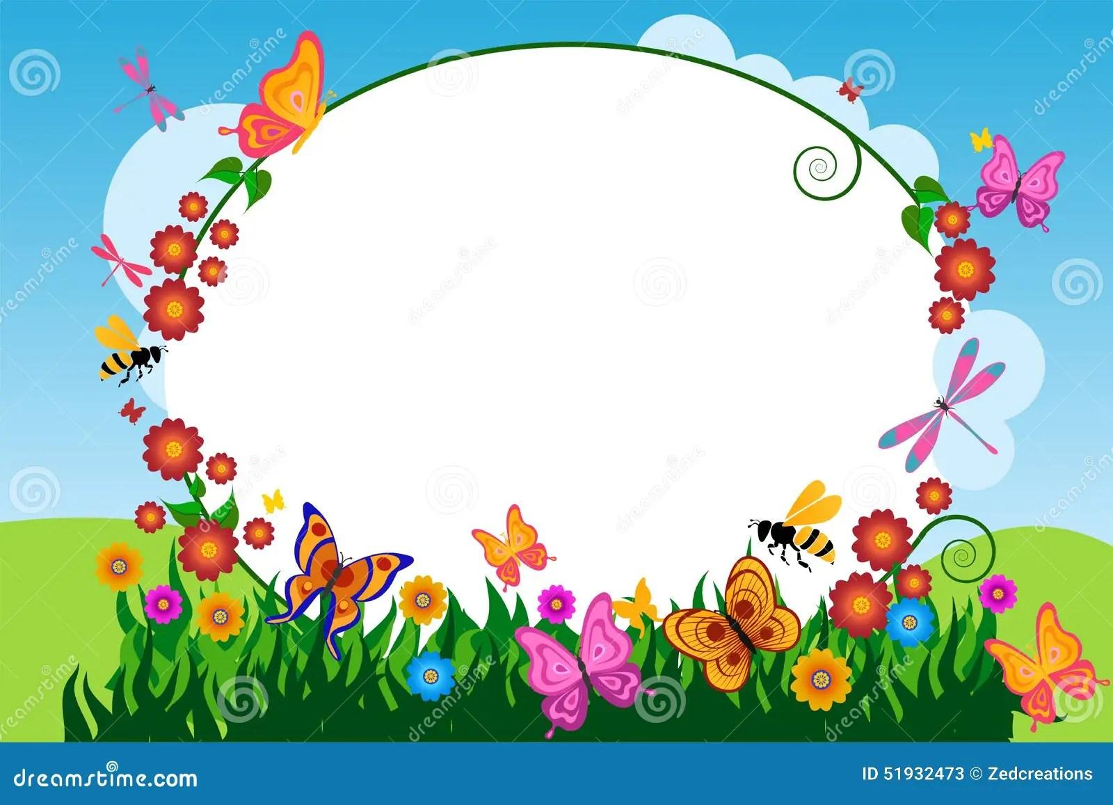 Pink Animal Print Wallpaper Butterfly Flower Frame Background Stock Illustration