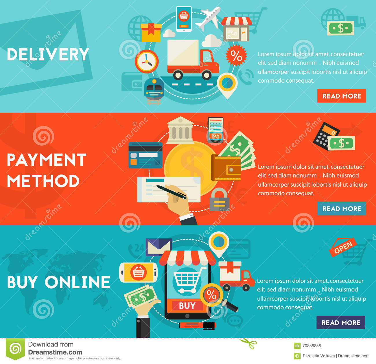 Online Shopping Mode Of Payment Buy Online Payment Methods And Delivery Concept Stock