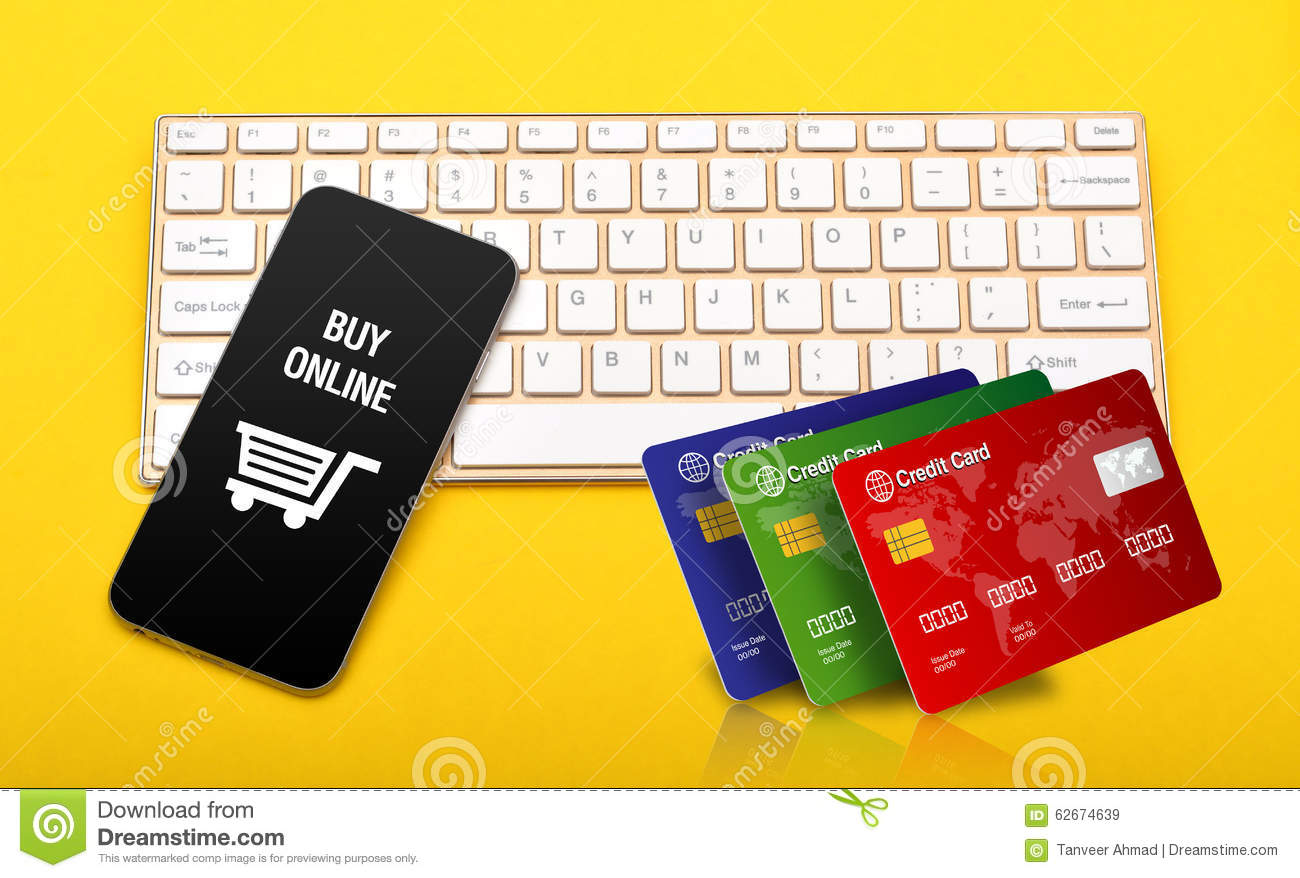 Stores Credit Card Buy Online Store Icon With Credit Cards Stack On Keyboard